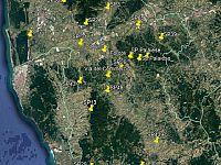 Cartina della Provincia di Pisa con indicate le zone dei controlli sin qui effettuati da parte delle pattuglie