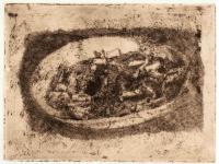 Cicche nel piatto, cm 13 x 18, acquaforte , 1976