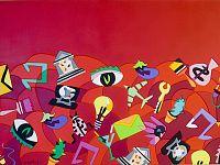 """"""" Fantasia"""", acrilico su legno, cm.70 x 100, 2016"""