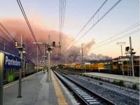 L'incendio visto da Pontedera