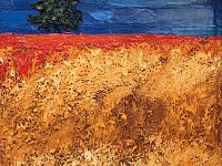 Paesaggio grano e papaveri (Olio su tela)