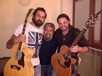 Il nostro blogger Fausto Pirìto con Omar Pedrini e Alberto Bertoli (figlio di Pierangelo)