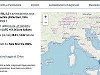 Terremoto registrato a Vibo Valentia