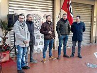 Gli esponenti di Casapound stamani a Pontedera