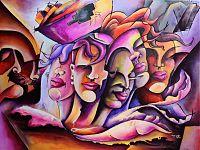 Un quadro del pittore capoverdiano Zelito dedicato al mondo femminile