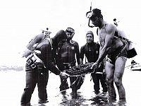 Brambilla insieme ad altri dopo il ritrovamento di reperti archeologici nel mare dell'Elba (Foto da mucchioselvaggio.org)