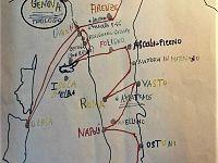 Mappa del percorso disegnata da uno studente