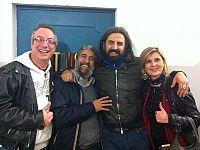 Pedrini con il nostro blogger, Fausto Pirìto. Con loro, Daniele Sabati e Silvia  Barsotti di Garage Radio alle finali palaiesi di Soms Experience 2015