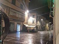 Piazza Cavour sotto la pioggia battente di questa notte