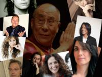 Artisti, giornalisti & C. pro-Dalai Lama; tra gli altri,  dall'alto: Grignani, Battiato, Palo Belli, Alberto  Fortis, Alice, Aiazzi (ex CSI) e Gianni Maroccolo.