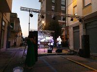 Marco Vanni sul palco con il presentatore della serata
