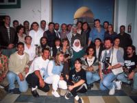 Foto di gruppo nel bunker di Arafat con I Nomadi, Renzo Maffei e il nostro blogger, Fausto Pirìto.