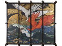 Onde damigelle di Numidia e scorfano - 1910-olio su tavola 200x240