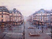 ''Avenue de l'Opéra, Paris'', 2018, acrilico su tela, 100x150