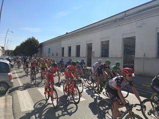 I ciclisti in viale Piaggio a Pontedera
