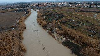 Il fiume Cecina in piena