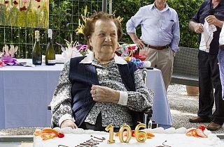 Nonna Lucia pochi mesi fa, per il 106esimo compleanno